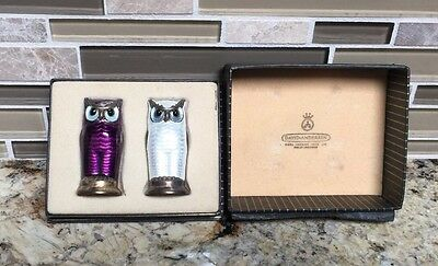 David Andersen Norwegian Guilloche Enameled Sterling Silver Owl Salt & Pepper