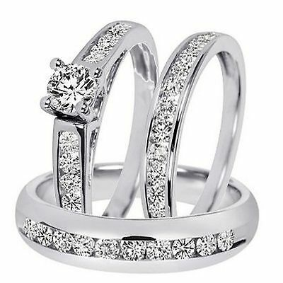 10K Round-Cut Diamond Trio Bridal Wedding Ring Band Set Solid White Gold Over