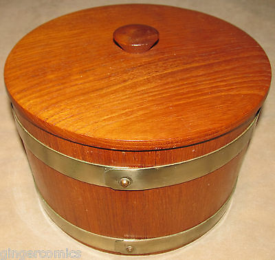 Vintage Circular Bread Bin / Box. Wooden With Brass Bands. Antique. Wood