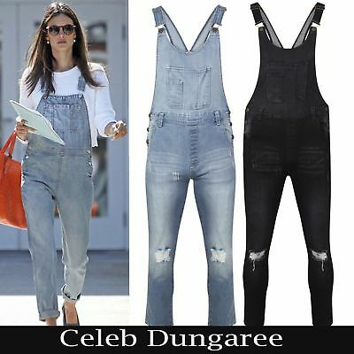 New Women Ladies Ripped Buckle Denim All In One Dungaree Button Fasten Overalls