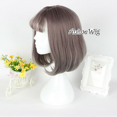 35CM Lolita Women Short Gray Brown Wavy Daily Cosplay Wig + Wig Cap