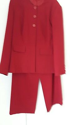Skirt And Jacket Suit Red Size 18