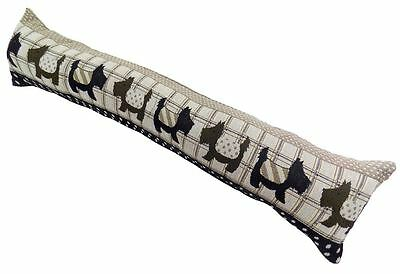 Cotton Tapestry Black Beige Scottie Dogs Dog Draught Excluder  22 X 90Cm