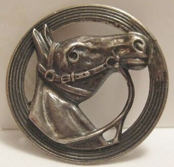 """Beautiful Antique Silver Horse Head Pin 1"""" Beau Sterling 1930s-50s"""