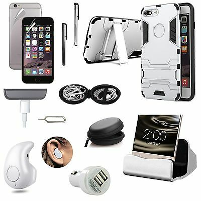 Sliver Case Cover Charger Bluetooth Earphone Accessory Bundle For iPhone 7