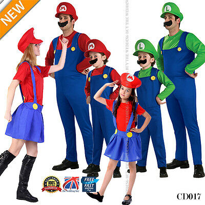 Mens Adult Kids Super Mario and Luigi Bros Fancy Plumber Halloween Costume CD017
