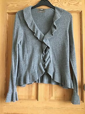 M&S With Cashmere Ladies Grey Frill Bell Sleeve Cardigan Top Size 12