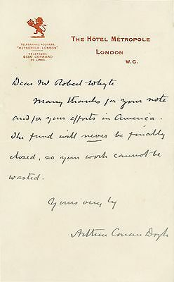 Arthur CONAN DOYLE | ORIGINAL letter ALS signed | author of sherlock holmes