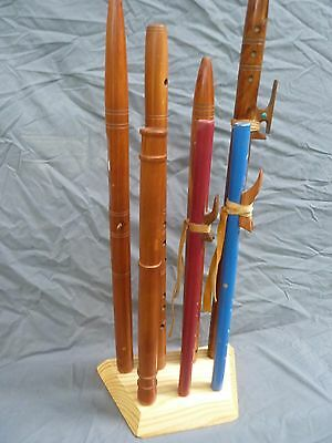 """Solid Pine """"cluster"""" flute stand...flute rack..holds 7 native american flutes"""