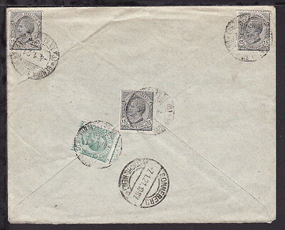 ITALY 1921 REGISTERED AIRMAIL COVER to GERMANY - Multiple Frankings