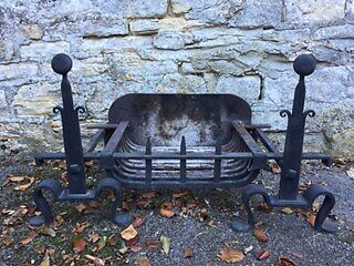 Reclaimed Wrought Iron Fire Dogs and Basket
