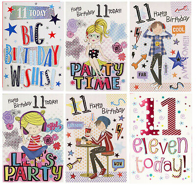 Boy Girl You're 11 Today 11Th Birthday Card 1Stp&P Greeting Card
