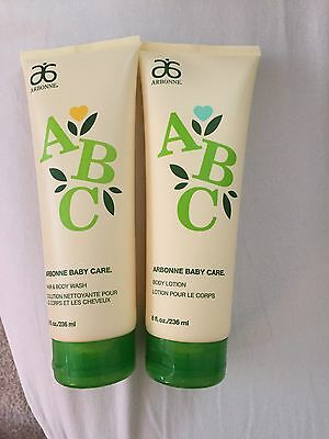 Set Arbonne Baby Care ABC Hair & Body Wash And Body Lotion 8oz Each Used Twice