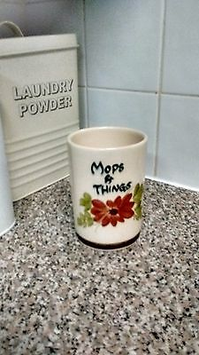 Babbacombe Pottery 'mops & Things ''hand Painted Utensil Pot By Philip Laureston