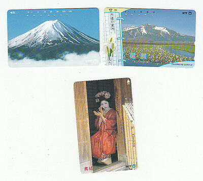 3 diff telephone cards from Japan mountain geisha