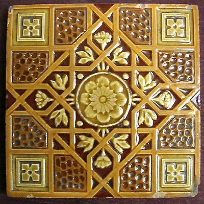 "Antique Geometric Relief Majolica 6"" Tile c1885 CRAVEN DUNNILL."