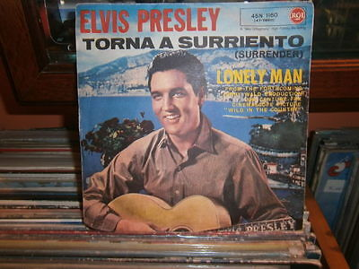 "7"" elvis presley - torna a surriento (surrender) / lonely man - 45n 1160"