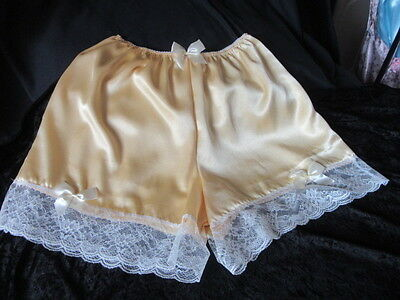 Sissy Satin French Knickers  Flirty Flared Panties Primrose/cream Size 28/40