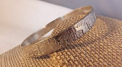 "Mexican Silver bangle bracelet flat braided design 1/4"" wide Mexico VGC"