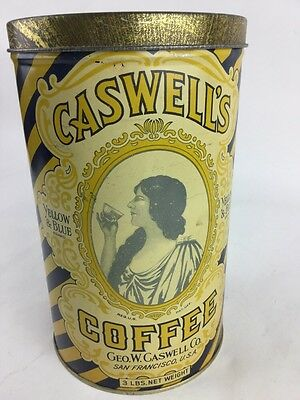 Antique 1924 Geo. W. CASWELL'S 3 LB. COFFEE Tin & Lid San Francisco CA Rare Find