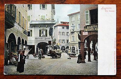 Posted 1907 Coloured Postcard Switzerland Lugano Via Nassa Horse Cart Stall Busy