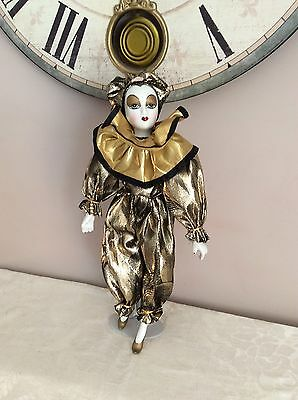 Genuine Porcelain 41cm Court Jester Royal Clown Joker  Doll Dressed In Gold