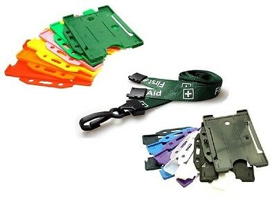 Green Pre Printed FIRST AID Plastic Clip Lanyard with ID Single Card Holder