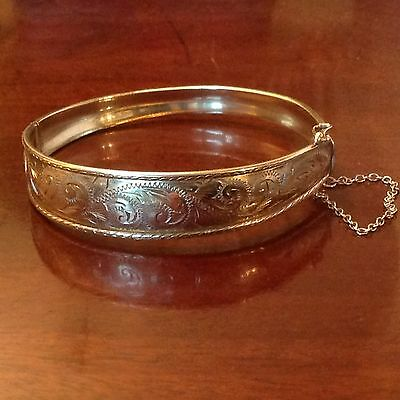 Vintage 9ct Solid YELLOW GOLD Semi Engraved Hinged Bangle Bracelet Weight 10.05g