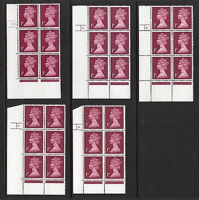UM/MNH 1p 2 Band Machin SG X844 x 5 Different Cylinder Blocks Of 6 As Scanned