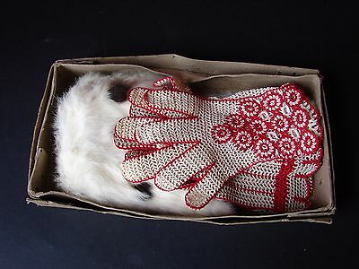 2 Pairs of Crocheted Gloves & Fur Stole 1940's