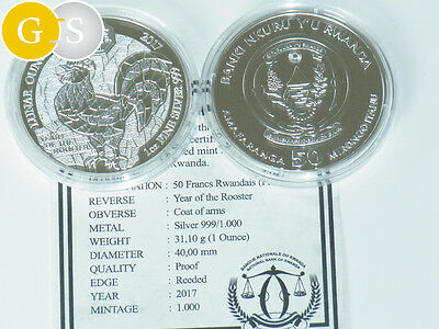 1 Unze Silber PP Proof Lunar Year of the Rooster Hahn Ruanda 2017 Silver Rwanda