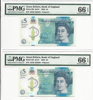 2015 2016 Bank of England Great Britain New Polymer 5 Pounds, PMG 66 UNC 2x Lot