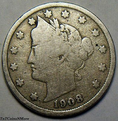 "1908 Liberty Head ""V"" Nickel - Free Shipping !!"