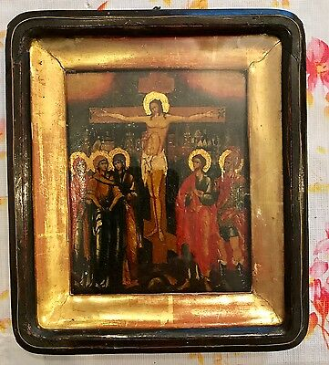 Antique Russian imperial  Icon  in wooden box  ( 2212a)