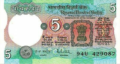 India P-80o 1985 Note 5 rupees World Paper Money Banknote incirculated CA