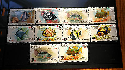 "Extremely Rare Uae Sharjah 1967 Mnh ""Overprint In Red"" New Currency Fish Series"