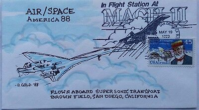 United States 1988 Concorde Mach Ii San Diego Flight Illustrated Cover