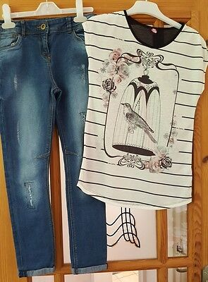 Girls Denim Jeans and Top. age 9 - 10 years