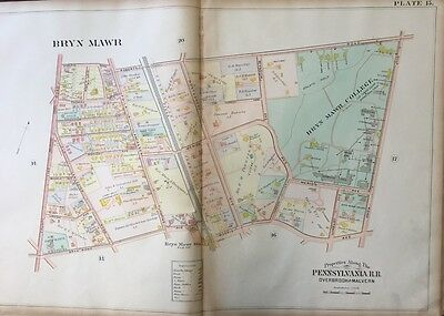 Orig 1900 J.l. Smith, Montgomery County, Pa, Bryn Mawr College, Plat Atlas Map
