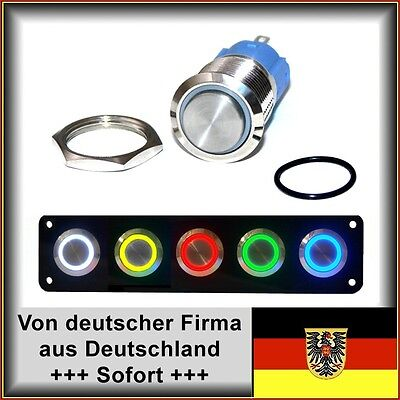 Taster 18mm LED weiß, Hupe, Edelstahl, Dichtung+Mutter