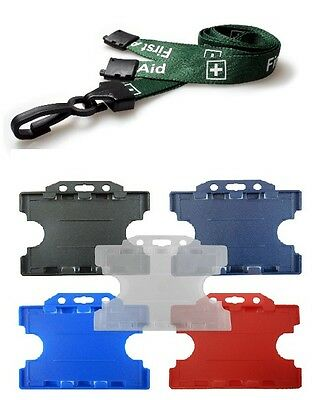 Green Pre Printed FIRST AID Plastic Clip Lanyard with ID Double Card Holder