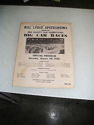 "Vintage 1960 Bill Lydle Speedshows ""big Car Races Official Program Signed By Bil"