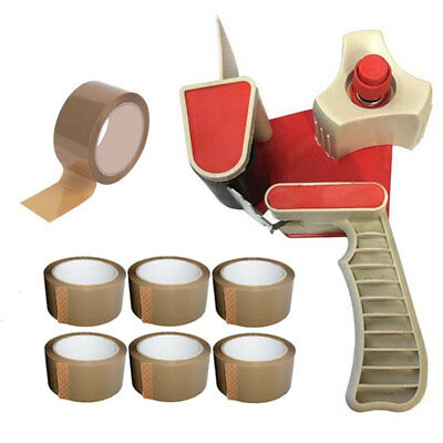 "Box Packing Parcel Tape Gun Dispenser 2"" + 7 Rolls Of 48Mm Brown Packing Tape"
