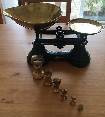 Vintage/Traditional Librasco/Libra Kitchen Scales & Brass Bell Weights.
