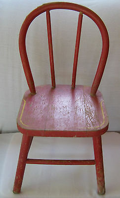 Vintage Child's Chair Red Wood Yellow Pin Strip Bentwood Back