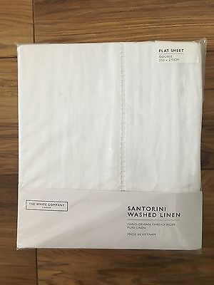 The White Company Santorini Washed Linen White Flat Bed Sheet Double Brand New