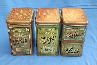 Vintage CHEINCO Tin Canisters Kitchen Set 4 Tea Coffee Sugar Flour Retro 1970's