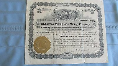 1908 Boulder Colorado Ottumwa Mining & Milling Company Stock Certificate-Issued