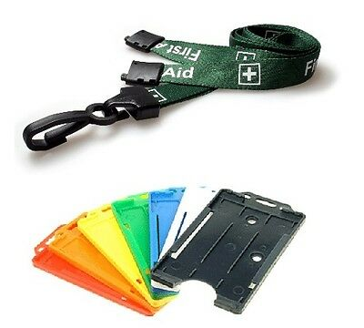 Green Pre Printed FIRST AID Plastic Clip Lanyard & Single Portrait Card Holder
