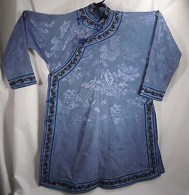 Chinese Blue Purple Silk Embroidered Robe            47886